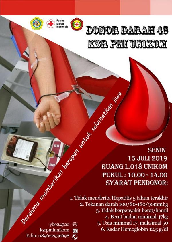 Donor Darah ke 45 - KSR PMI Unikom