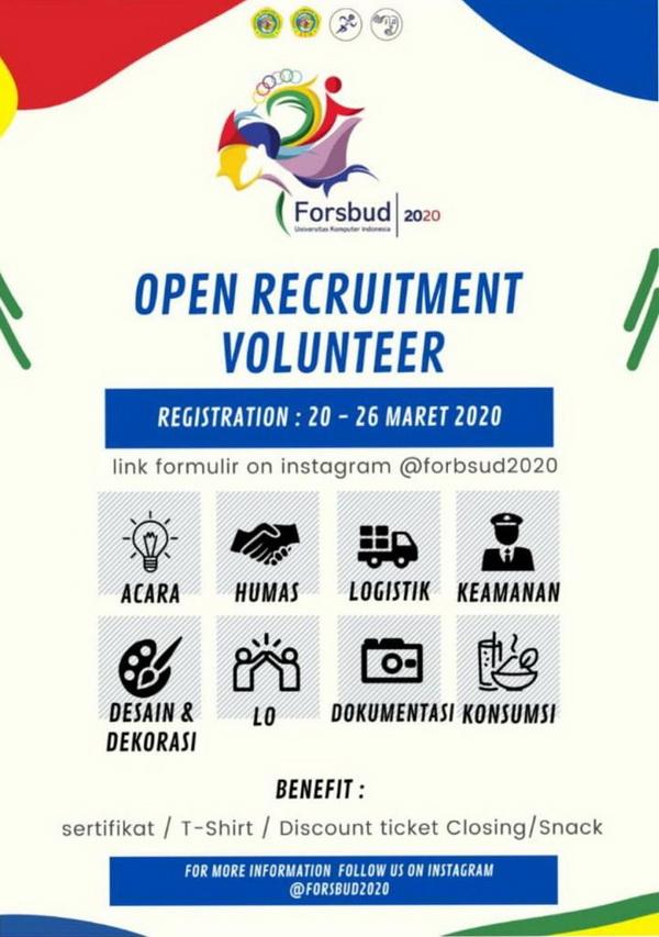 Info Open Recruitment : Volunteer Forsbud 2020