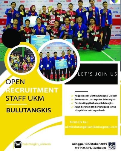 Open Recruitment Staff UKM Bulutangkis Unikom 2019