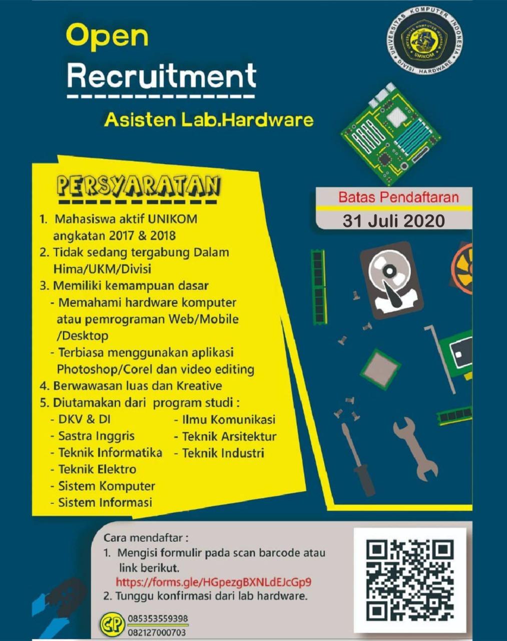 Recruitment Asisten Lab. Hardware Universitas Komputer Indonesia