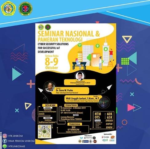 """Seminar Nasional dan Pameran Teknologi """"Cyber Security Solution for Succsessful IoT Development"""" 2019"""