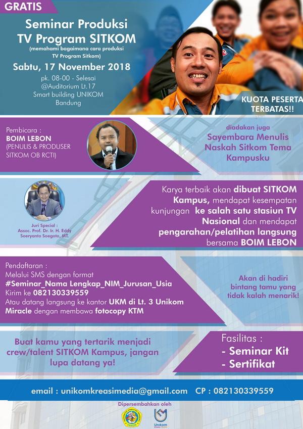 Seminar Produksi TV Program SITKOM & Sayembara Menulis Naskah SITKOM