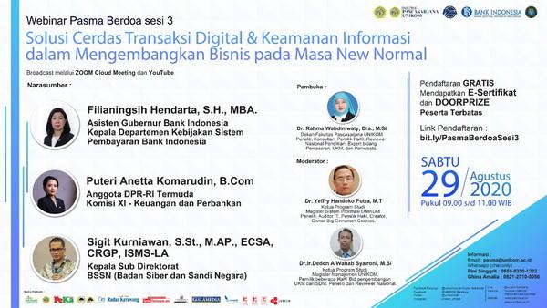 Webinar: Solusi Cerdas Transaksi Digital & Keamanan Informasi dalam Mengembangkan Bisnis pada Masa New Normal